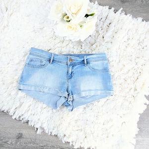 Hollister Light Blue Denim Jeans Mini Shorts Sz 5